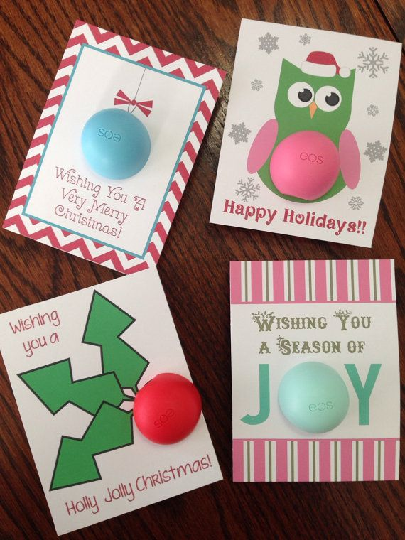 Holiday Christmas cards/gift tags for EOS lip balm by CreaseStudio