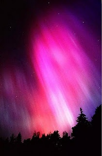Northern Lights in the shape of a pink heart