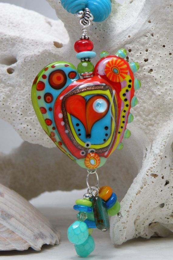 abstract heart lampwork focal pendant