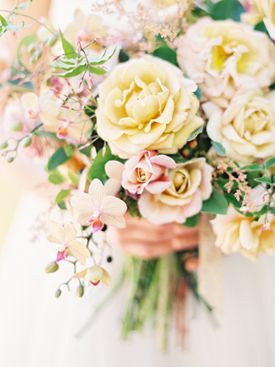 Pink & Yellow Bouquet | Wedding photography by Jen Huang, a Snippet & Ink Select vendor!