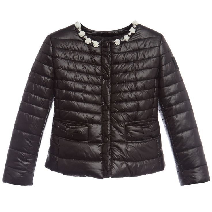 Monnalisa Girls Black Padded Jacket at Childrensalon.com