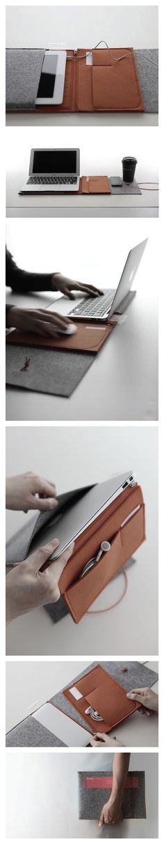 Love this! Leather and felt bag for ipad or air - folds open into mousepad and folder - by cloudandco for elevenplus. #ohsochic #leather
