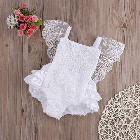 Lace Floral Ruffle Romper- White – Mooimoois