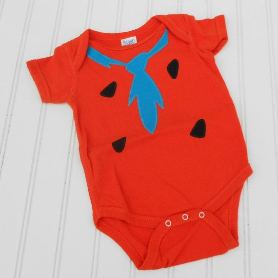 Great Christmas or Baby Shower Gift Fred Flintstone Onesie - Orange 100% cotton sewn applique for boys or girls READY TO SHIP