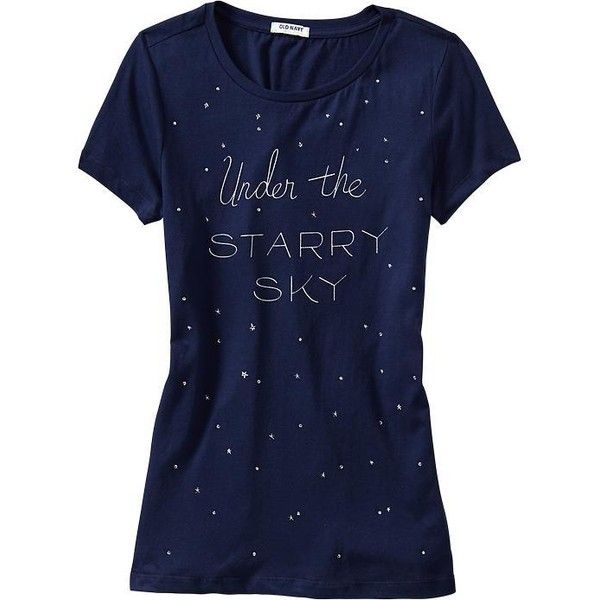 Old Navy Womens Embellished Graphic Tees - Goodnight nora ($15) ❤ liked on Polyvore featuring tops, t-shirts, shirts, women, blue shirt, cotton t shirt, old navy t shirts, graphic design t shirts and old navy shirts