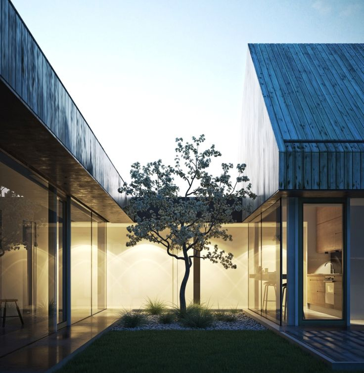 the two pitched-roof volumes frame a small courtyard, making the exterior environment feel a part of the house, as if the nature is growing inside.