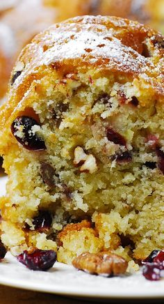 Holiday Vanilla Buttermilk cake with Cranberries, Apples, and Pecans #ad #sponsored