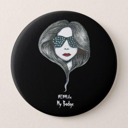 EDM Girl Pinback Button - accessories accessory gift idea stylish unique custom
