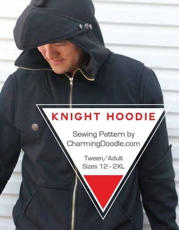 The Knight Hoodie pattern is a printable PDF sewing pattern to make your own hoodie in any size from 12 youth to an adult size 2XL. (The childrens