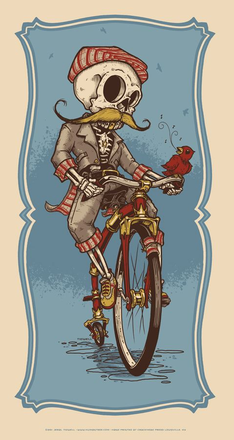 Ever so slightly creepy; why am I reminded of Don Quixote? Probably just me. (The Gentleman Cyclist by Jeral Tidwell) #skeleton #bike #bicycle