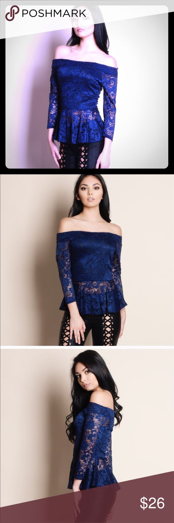 1 left !!!! Final Price This navy blue off shoulder lace top Tops