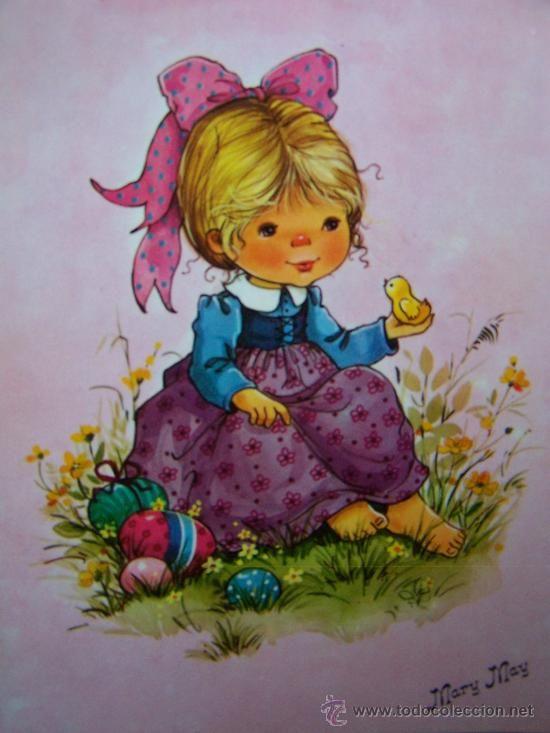 ...•:*¨.*:•....PRECIOSA POSTAL SERIE MARY MAY COLECCION PERLA AÑOS 80...•:*¨.*:•... (Postales - Niños)