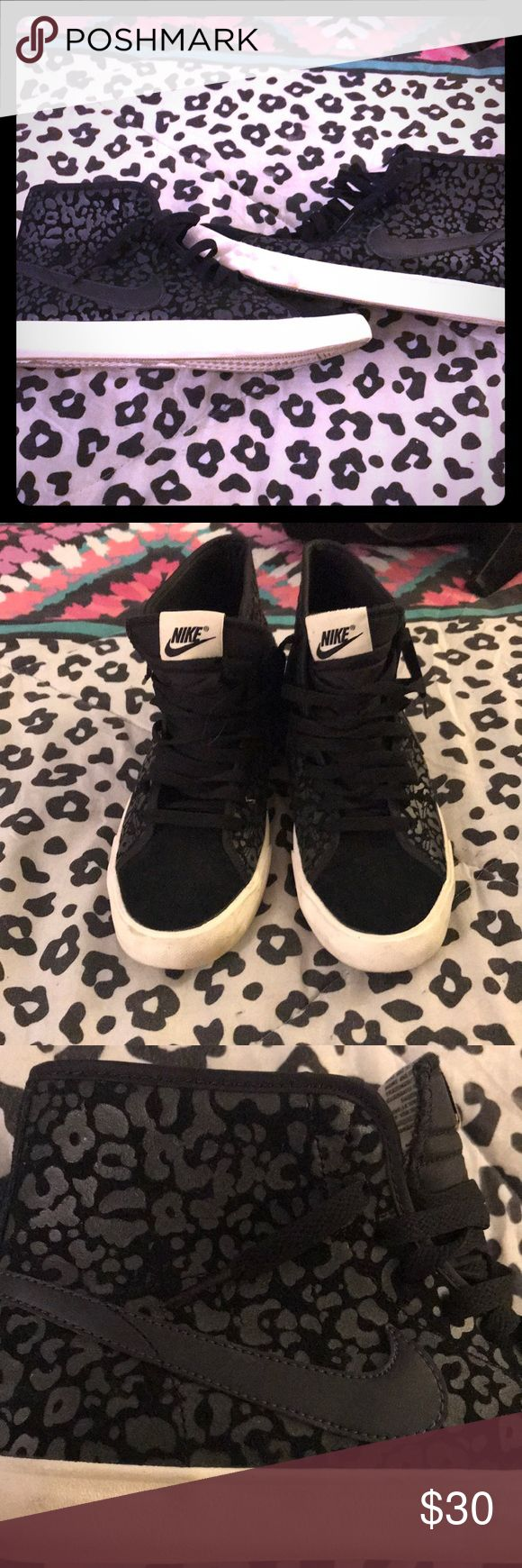 Nike Leopard high top size 8 Slightly worn fun nike leopard high tops. Size 8. Taking reasonable offers Nike Shoes Sneakers