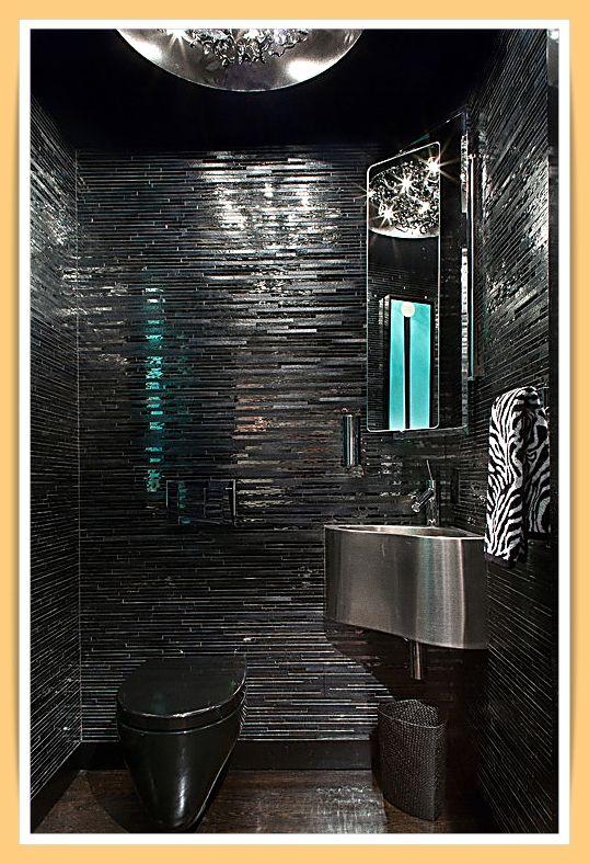 Bathroom Decor, Black And Silver Bathroom