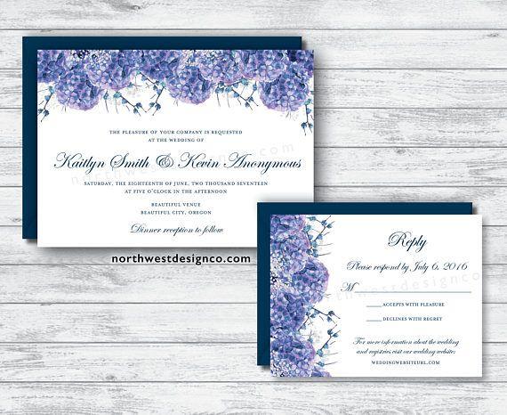 Navy Purple Hydrangea Wedding Invitation Reply Card Set