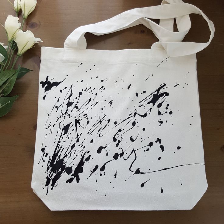 Paint Splutter Bag - Tote bag -  Monochrome - hand painted by Grafeeq on Etsy