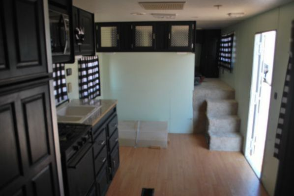 Painted black RV cabinets example