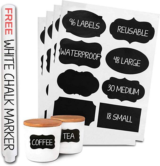 Removable Blackboard Chalkboard Stickers Decals Chalk Bottles Jars Labels w// Pen