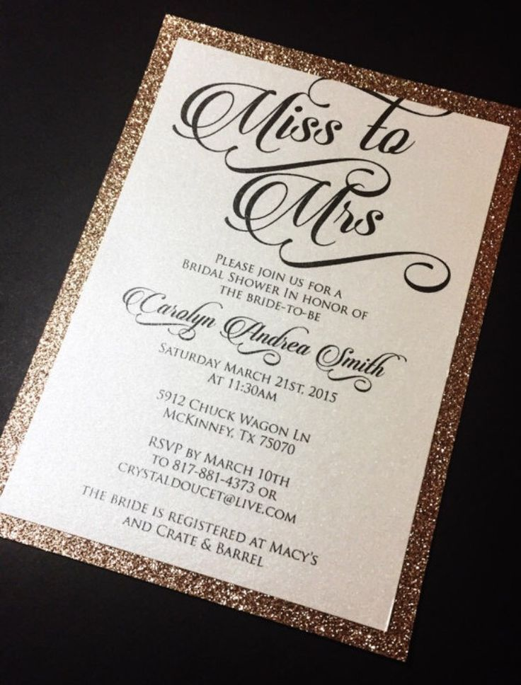 Invite your guests to your bridal shower in style with these real glitter invitations. Purchase the quantity needed (minimum of 10) and then send your wording and glitter color selection to latoya@soi