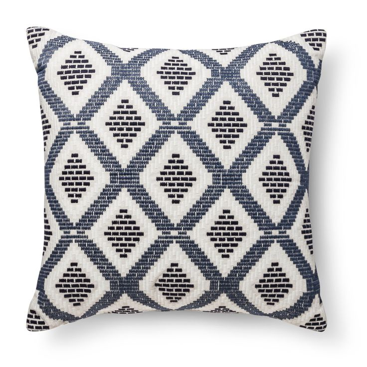 "• Made of cotton with a polyester fill<br>• Measures 24""x24""<br>• Machine washable<br><br>Add a comfortable spot to any room with the addition of the Blue/Tan Diamond Oversized Throw Pillow from Threshold. This accent pillow has an embroidered design on the front."