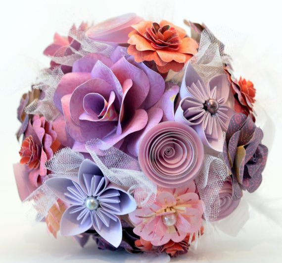 Handmade Purple Paper Flower Wedding Bouquet by FAVCreations, $128.00