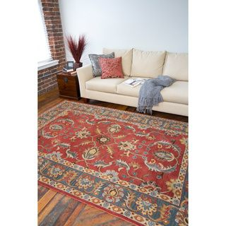Hand Tufted Coliseum Rust Traditional Border Wool Rug 76 X 9