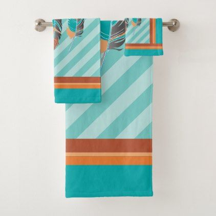 Feathers in Teal Stripes and Desert Colors. Bath Towel Set - trendy gifts cool gift ideas customize