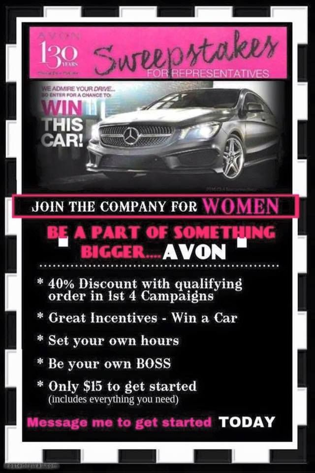 Win Car with Avon. See details for Avon Sweepstakes. http://thinkbeautytoday.com/win-car-avon-sweepstakes/