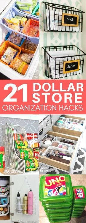 These dollar store organization ideas are exactly what I was looking for! Cheap & easy organization tips for your bathroom, kitchen, and more! I love the ideas for organizing under your bathroom sink and in your pantry.