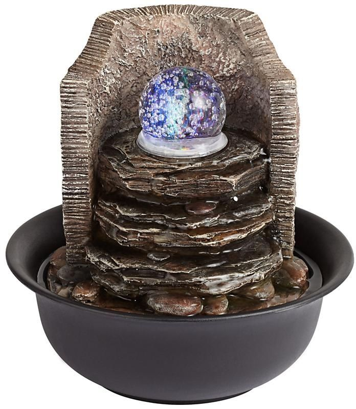 Rock Stack and Ball Tabletop Fountain