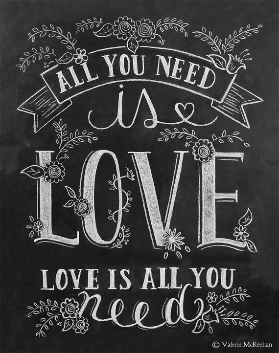 All You Need Is Love Print Chalkboard Art All You by LilyandVal