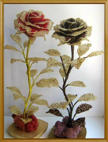 Розы из бисера, мастер-класс Марио, розы от Марио, бисерные цветы, бисер, Беседка для души