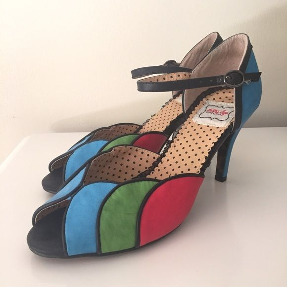 Bettie Page Burlesque Multi Color Pumps Brand New - In Box - Classy - Comfortable - Bettie Page Shoes by Ellie Bettie Page Shoes Heels