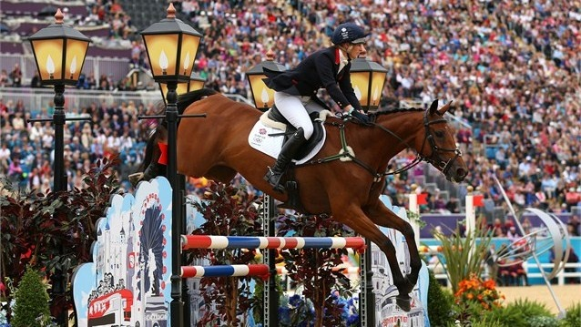 Zara Phillips of Great Britain riding High Kingdom in front of a packed home crowd during the Team Eventing competition