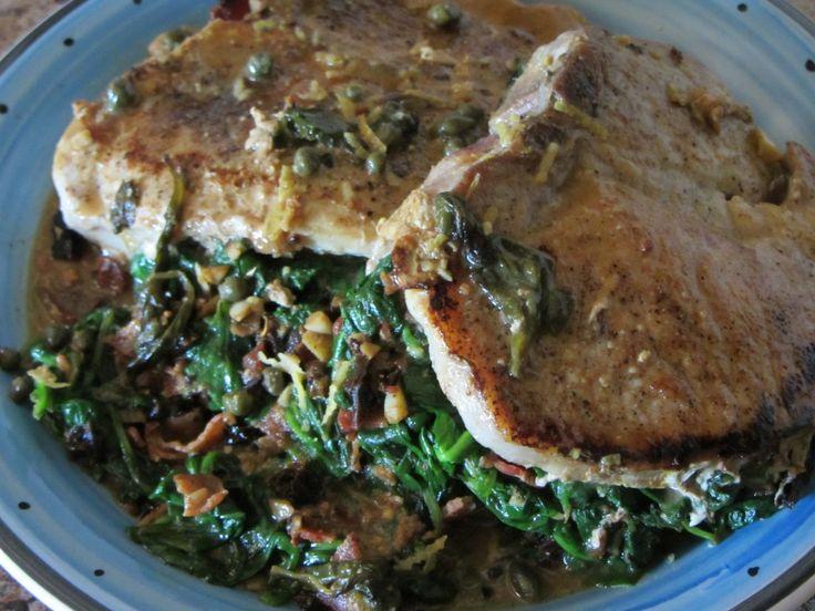 Spinach Stuffed Pork Chops With Lemon Dijon Caper Sauce - The Rogue ...