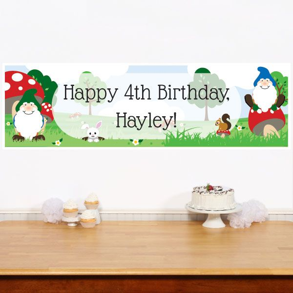 Gnome Party 5 Ft. Large Personalized Banner