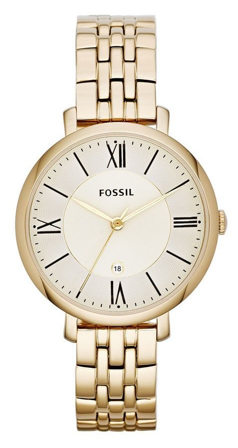 Fossil Dameshorloge 'Jacqueline' Goudkleurig ES3434. Een mooi en elegant horloge met een klassiek uiterlijk. Dit horloge is volledig goudkleurig uitgevoerd. #gold #steel #fossil #horloge #classy https://www.timefortrends.nl/horloges/fossil/dames.html