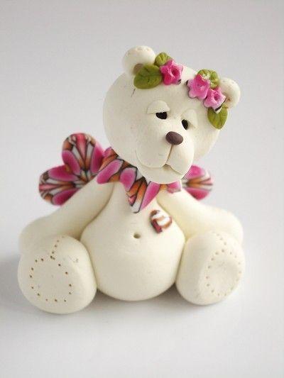 Polymer clay litlle angel bear girl by natbears on Etsy etsy.com