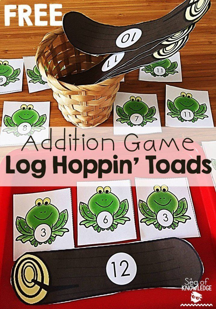 Addition Game Math Activity Kindergarten Log Hoppin' Toads - Sea of Knowledge