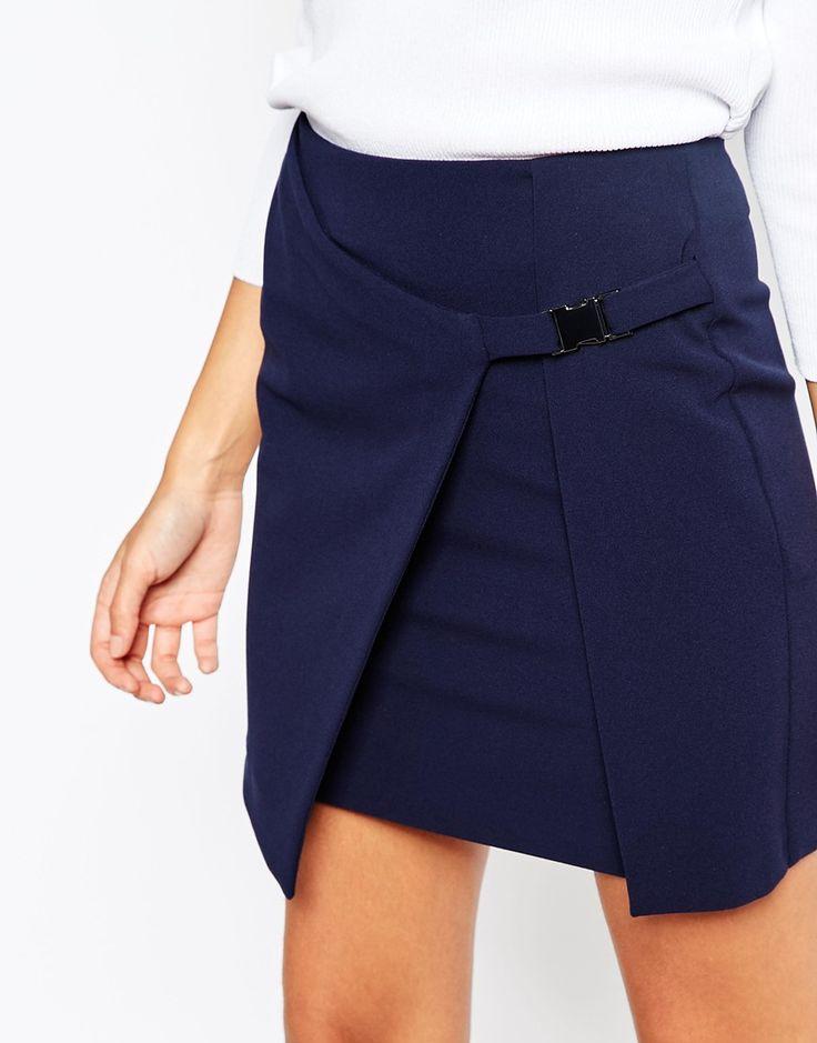Image 3 - ASOS - Jupe portefeuille avec femeture à boucle en métal
