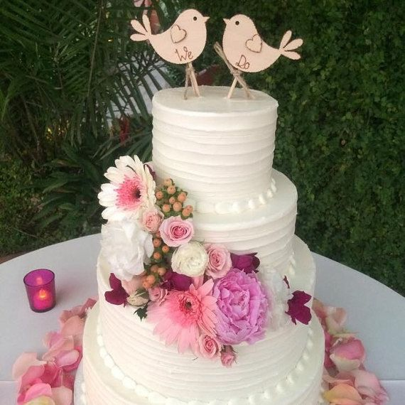 We Do Rustic Wedding Cake Topper Bird Cake Topper by Melysweddings