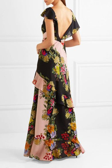 Etro - Ruffled Floral-print Crepe And Silk-chiffon Maxi Dress - Pink - IT46