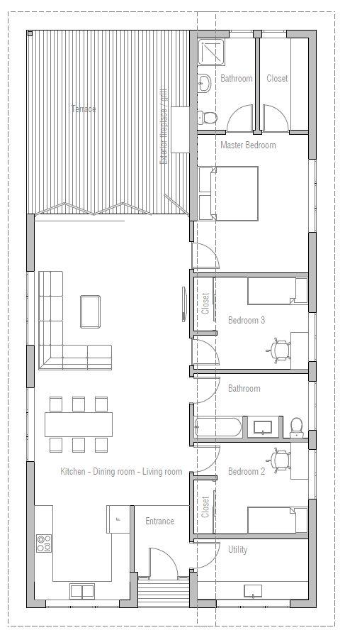 16 best plan maison images on Pinterest Small houses, House - plan petite maison 70 m2