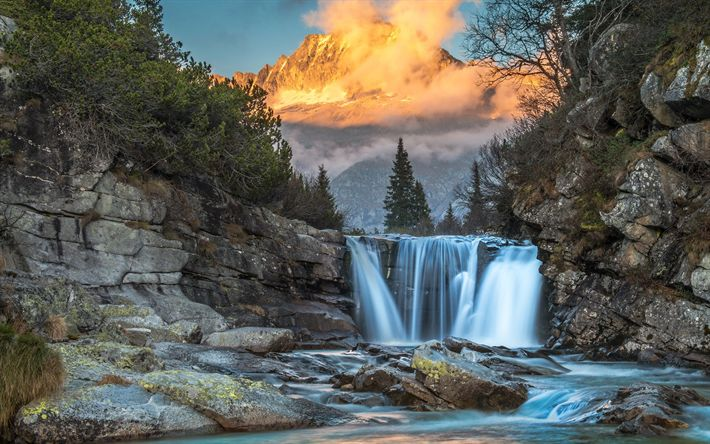 Descargar fondos de pantalla cascada, río de montaña, bosque, puesta del sol, montañas, estados UNIDOS