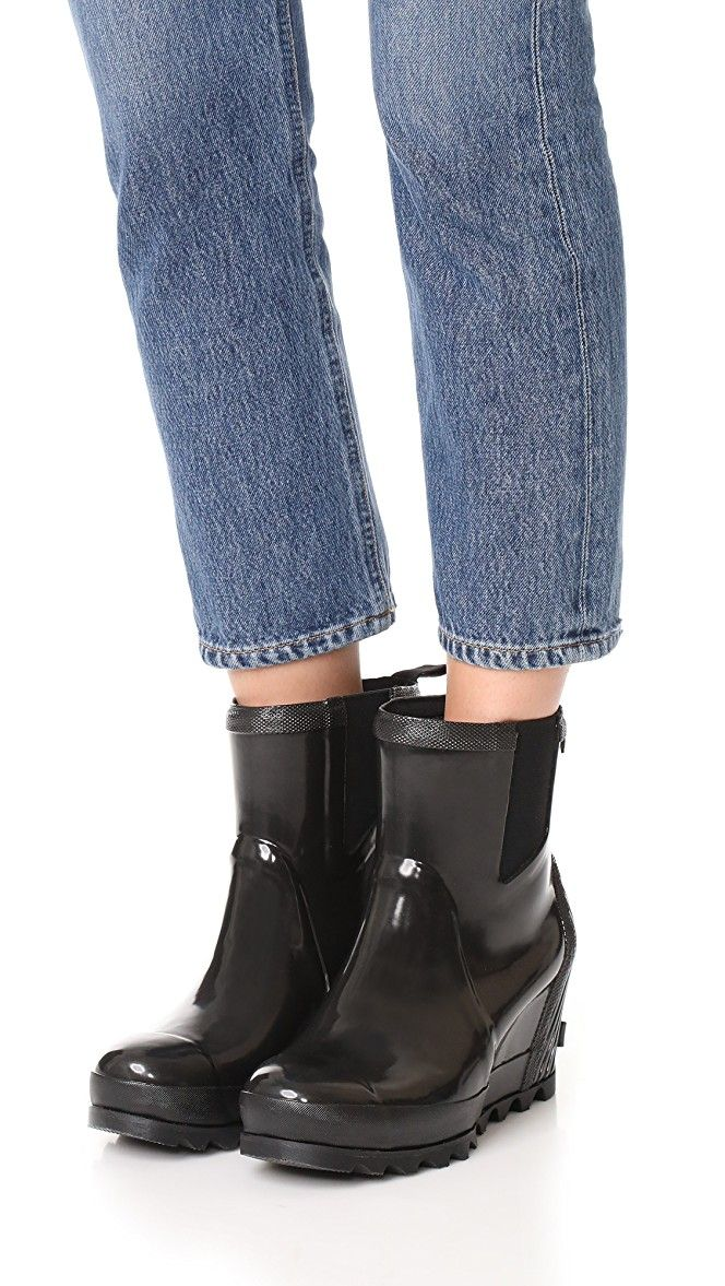 88e6713aa46 Sorel Joan Rain Wedge Chelsea Gloss Rain Booties
