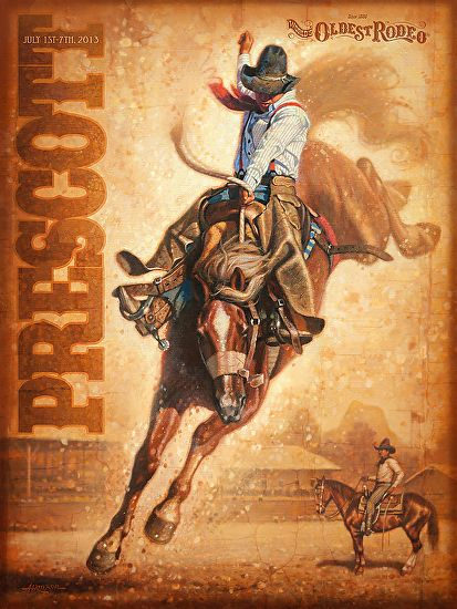 2013 Prescott Rodeo Poster by Steve Atkinson  ~ 24 x 18