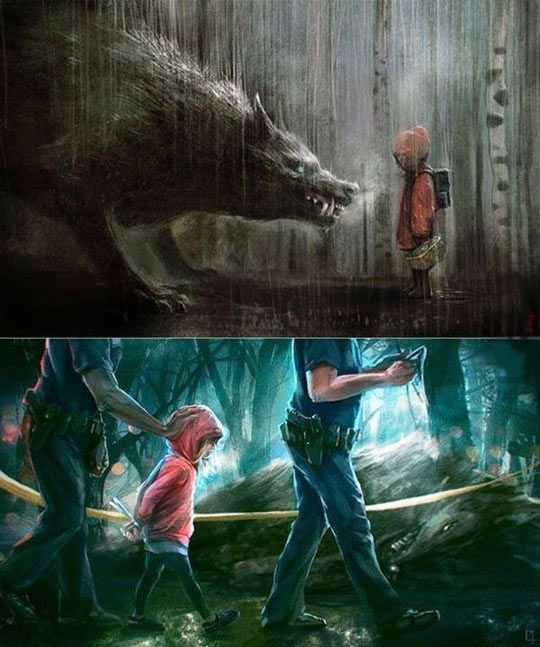 """A pairing of Red Riding Hood themed art by two seperate artists - the second one n response to the first - a previous pinner added the description """"Fear everyone"""" for both together"""