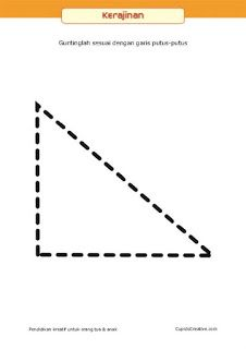 kerajinan anak, pola belajar menggunting untuk balita/TK, bentuk segi tiga