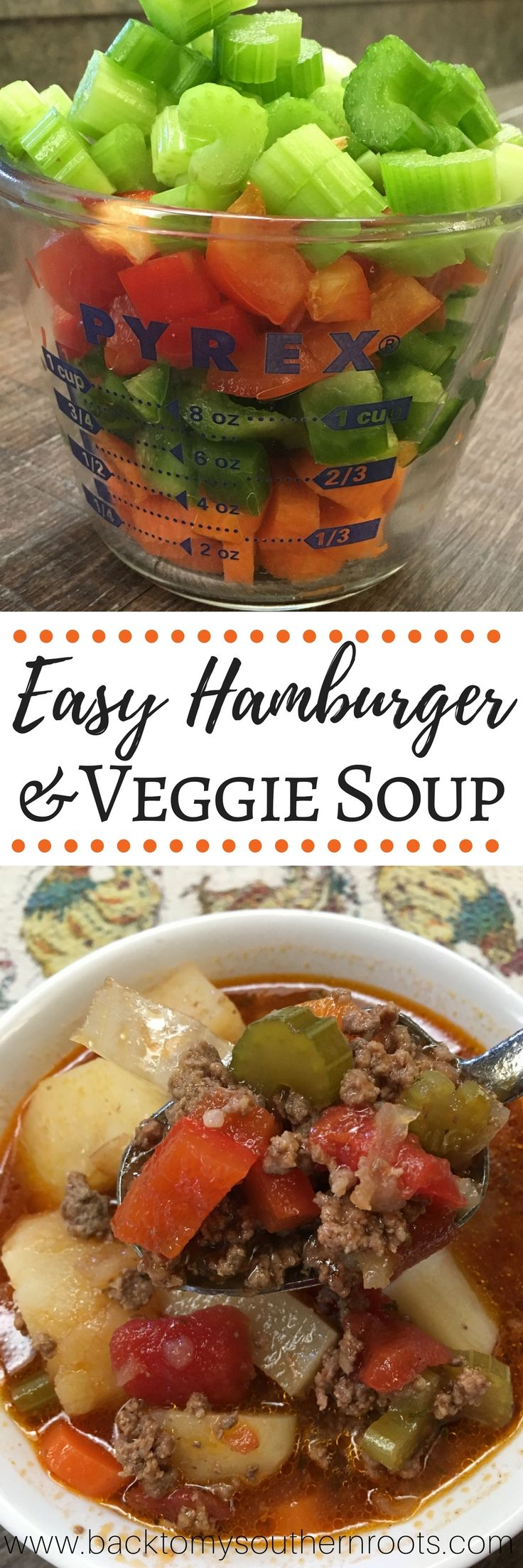 You are going to love this hamburger and vegetable soup. It's the perfect soup recipe to warm you up in the cold weather and it's easy to make. The hamburger and veggie soup recipe makes a large pot that will feed a family of 8, or you'll have plenty of leftovers. This is a very inexpensive, cheap meal that costs less than $15. via @juliepollittbacktomysouthernroots