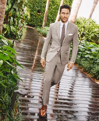 Lauren Ralph Lauren Men's Tan Glen Plaid Ultraflex Pure Wool Classic-Fit Suit - Tan 36S